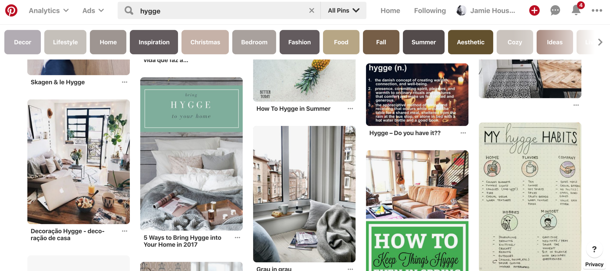 Pinterest search of Hygge. In Pursuit of Hygge | Jamie House Design