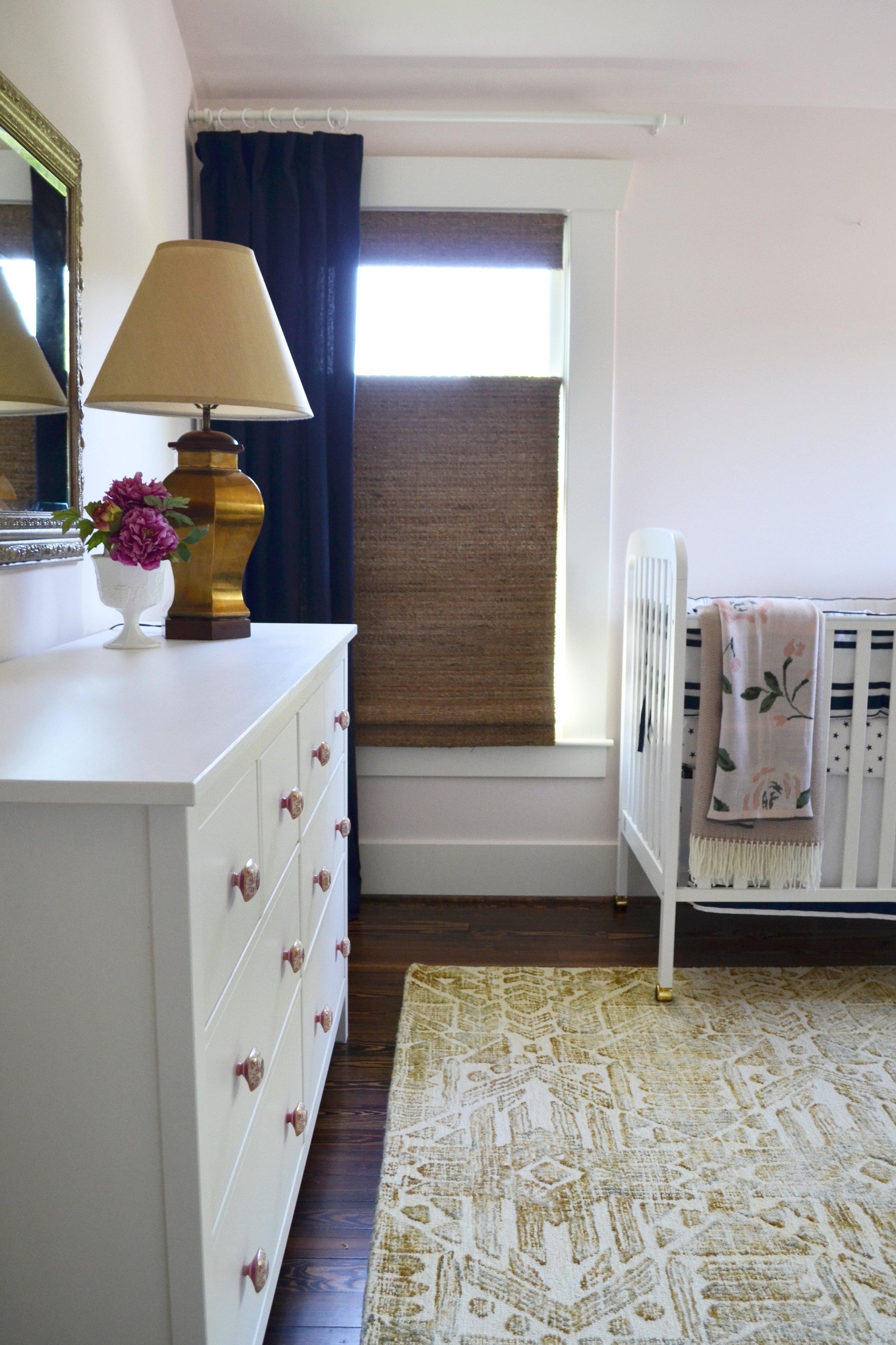Pale pink nursery by interior design firm Jamie House Design of Berlin Germany