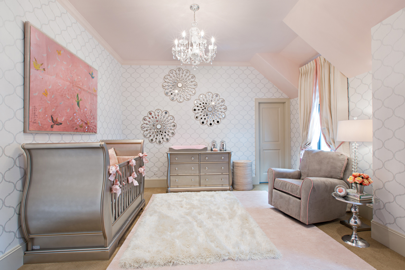 A nursery fit for a princess by Jamie House Design in Memorial area of Houston Texas. Wallpaper and pink ceiling. Painted ceiling.