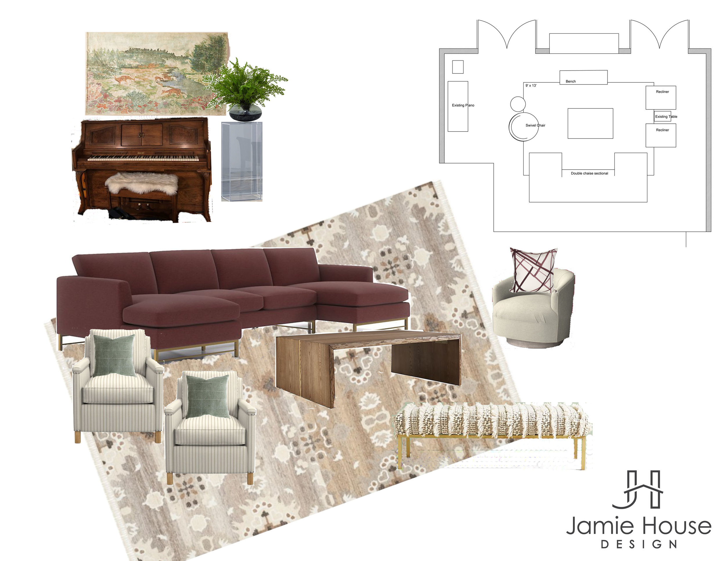 Designing from a distance living room moodboard by Jamie House Design