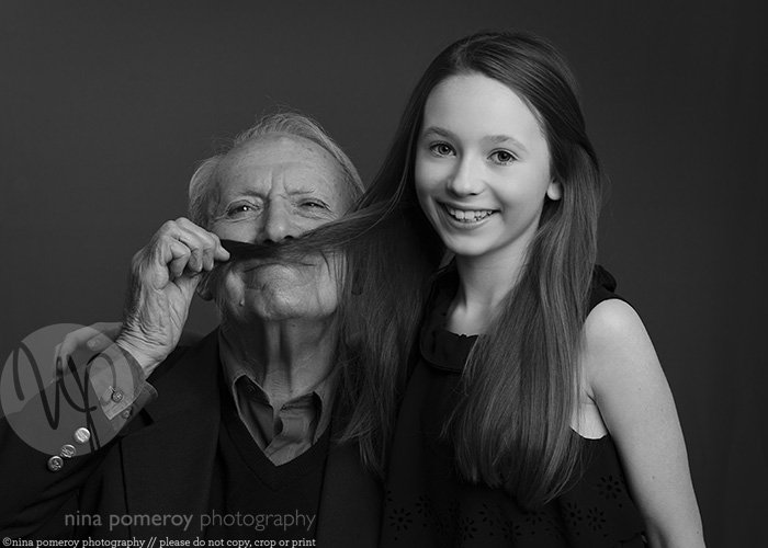 westport photographer ninapomeroy.com granddaughter grandpa studio bw photo