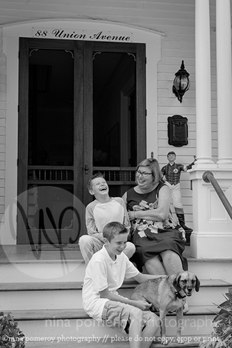 Laughing Family Photo Porch Steps ninapomeroy.com