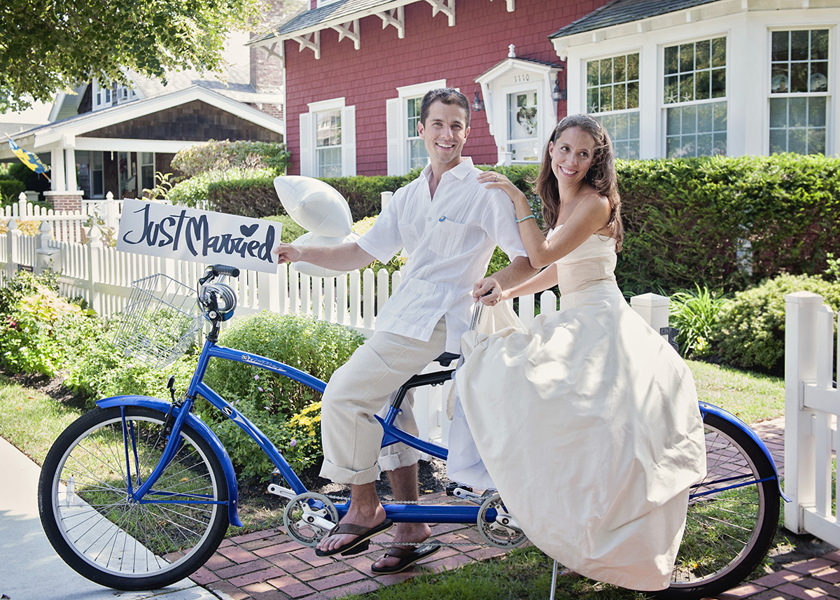 Livermore Wine Country Wedding Portrait Bride and Groom on A tandem bike