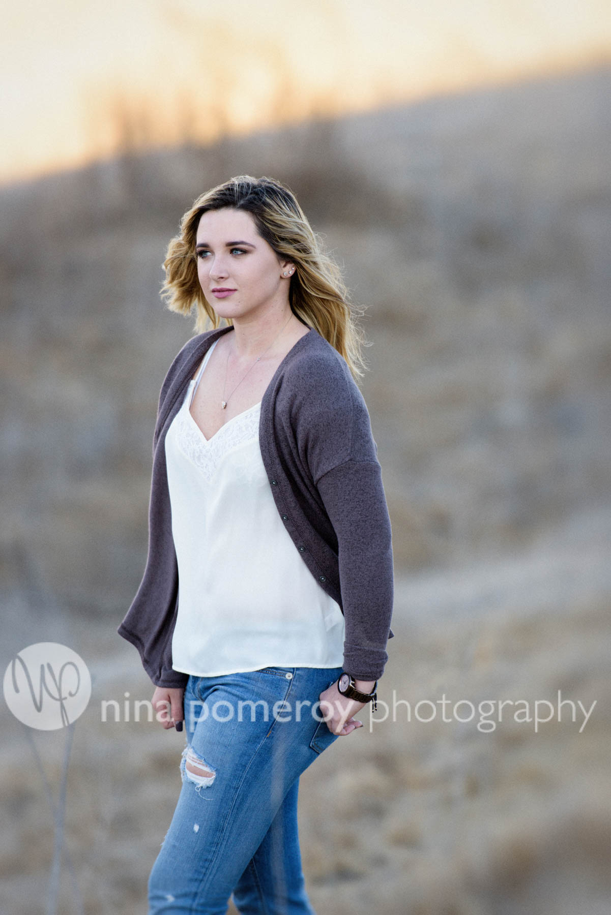 Sun setting behind teen for this senior portrait in San Ramon valley by Nina Pomeroy