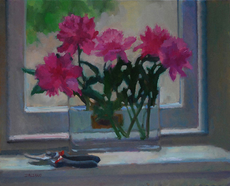 Peonies on Window Sill