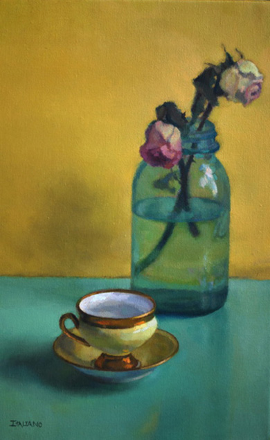 Yellow Teacup with Roses
