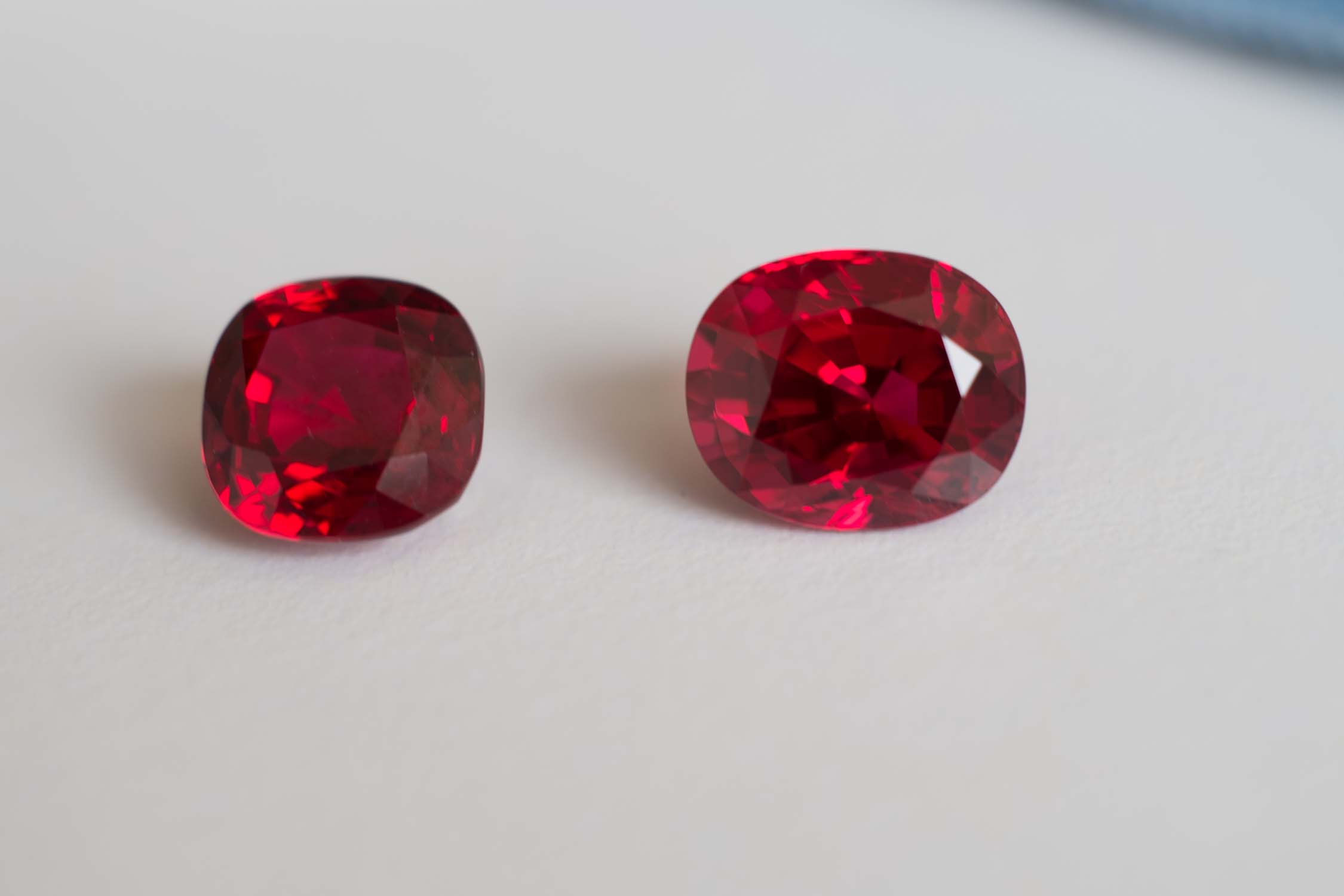 Pair of rich raspberry colored spinels.