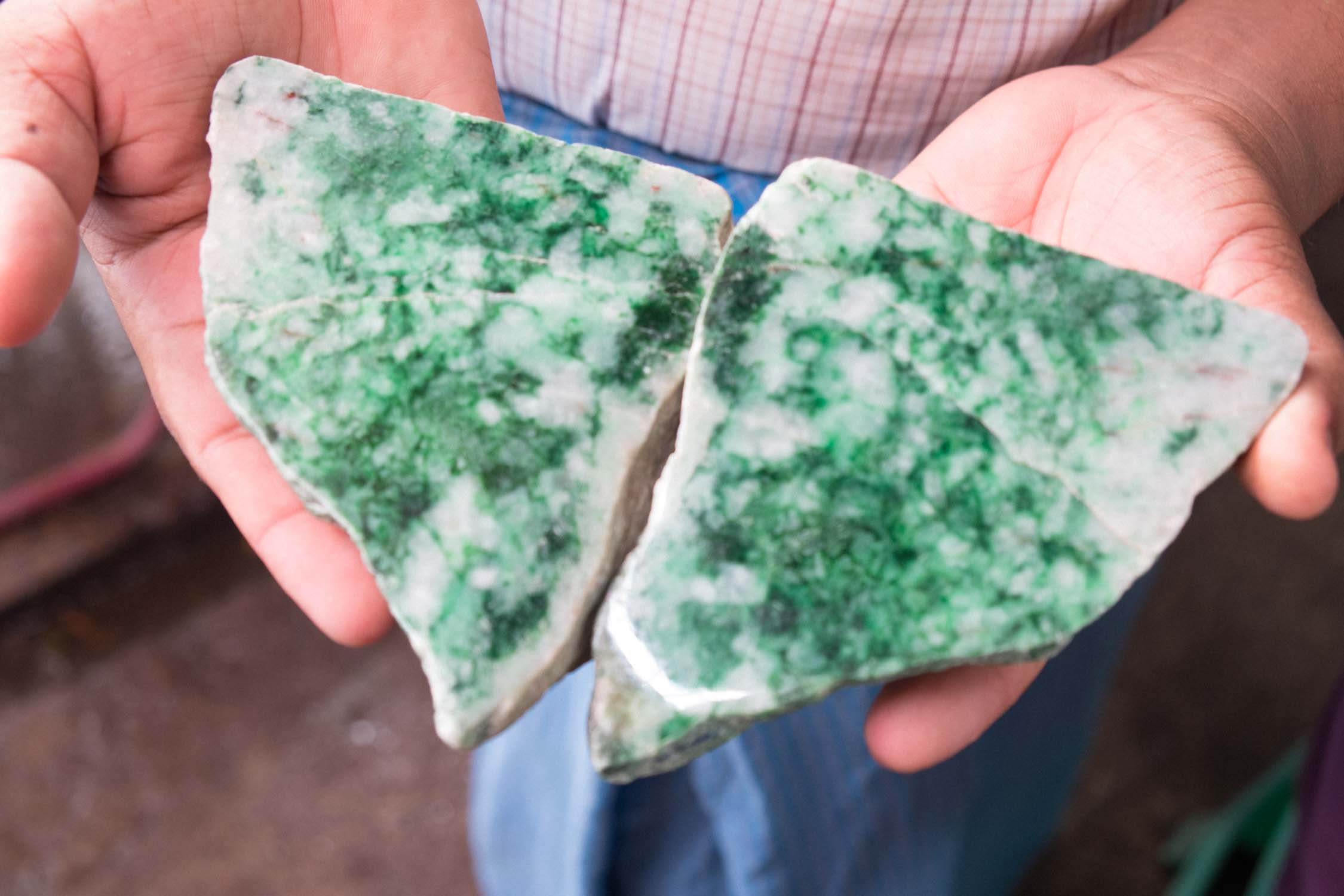Elegant slab of mixed color green'white jade. This most likely will be used for carving.