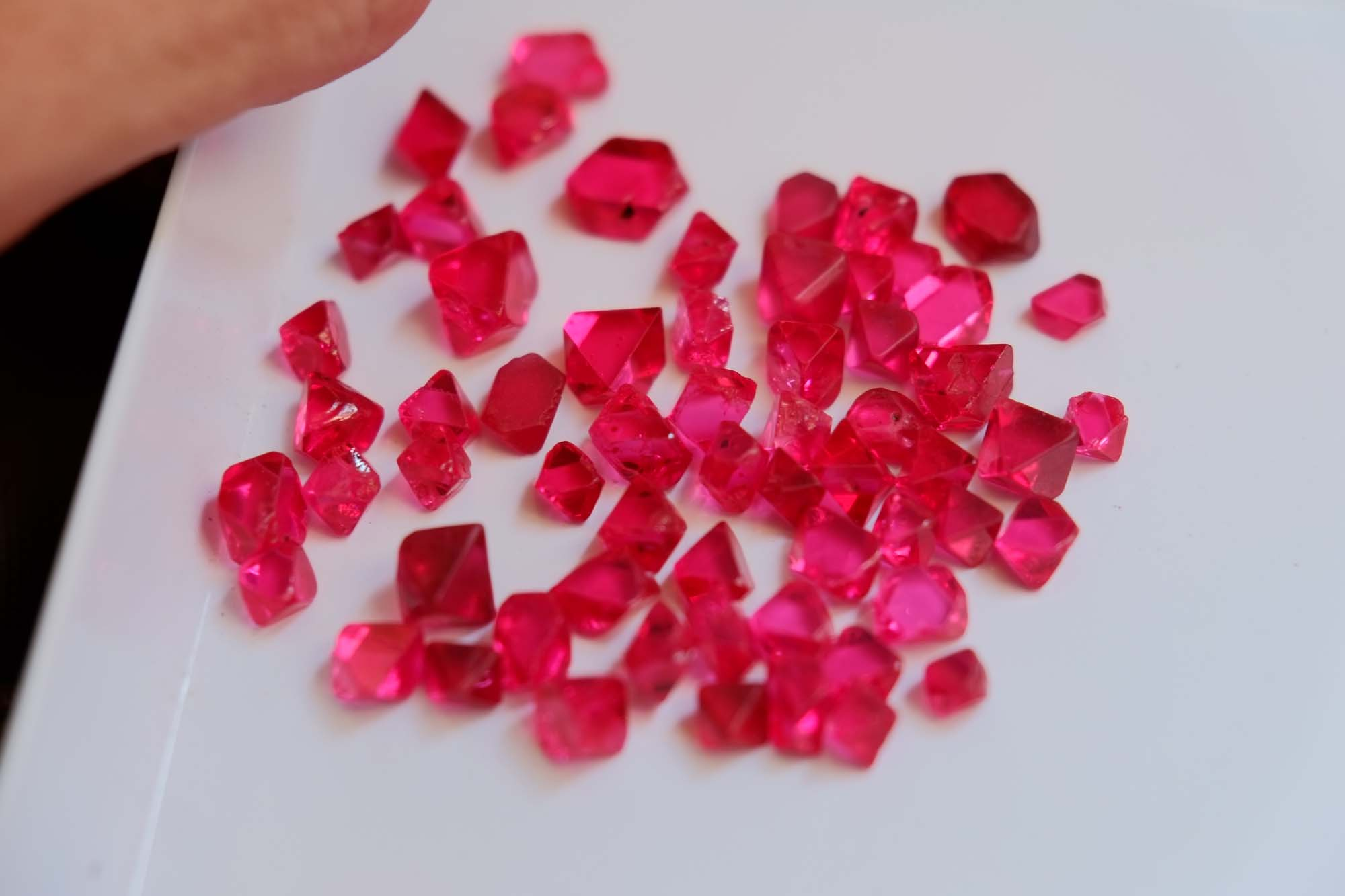 Intense colored spinel crystals from Burma.