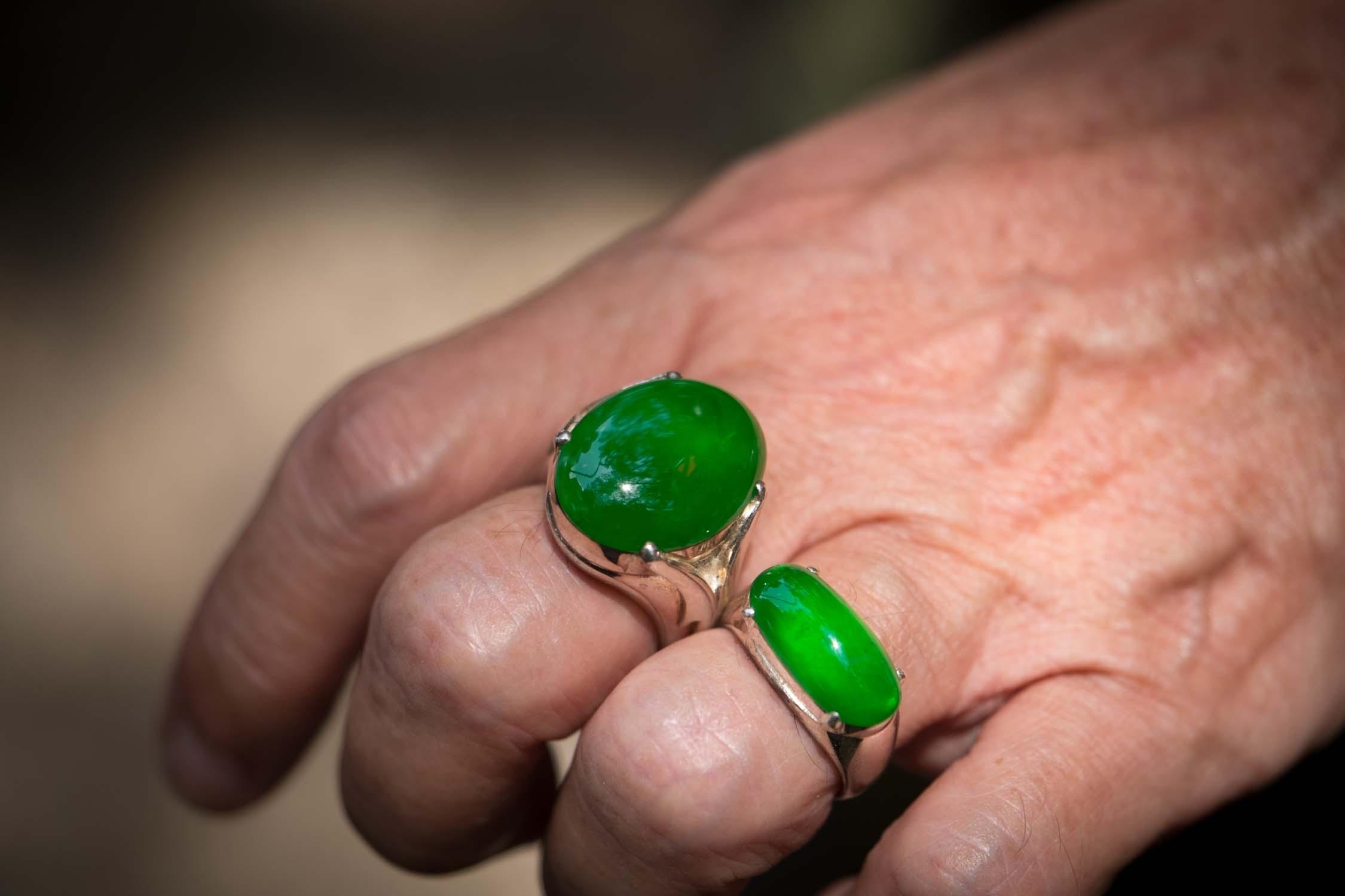 Top quality imperial jade as seen worn by a well known jade dealer in Yangon, Myanmar