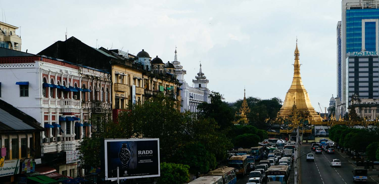 Downtown Yangon - View of Sula Pagoda
