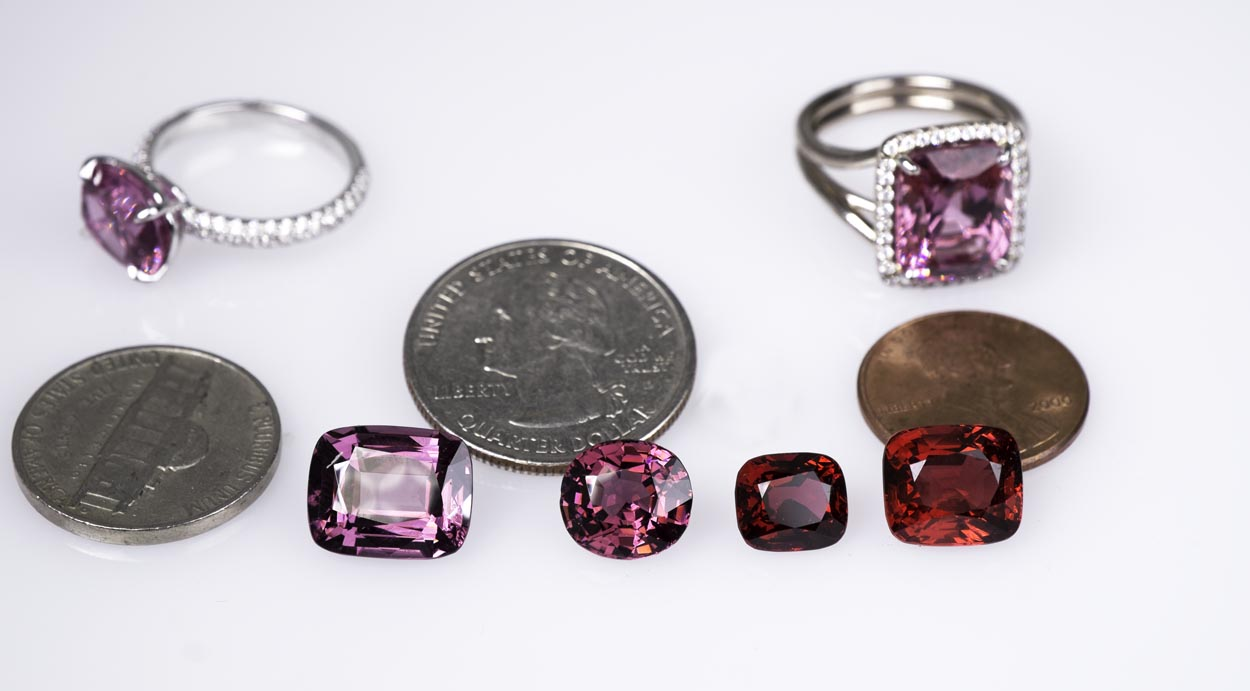 Spinels look good set or unset. Many come in various red, pink, purple  and orange shades.