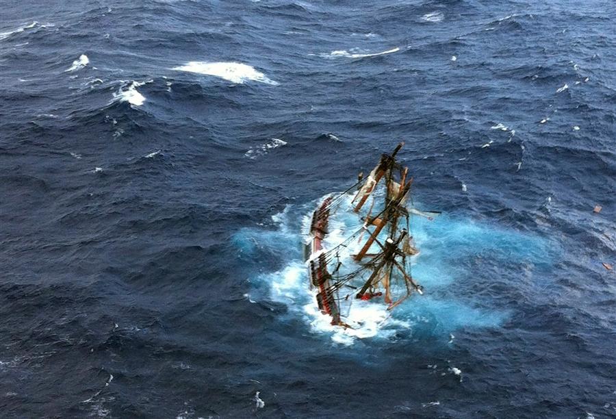HMS BOUNTY sinks. Photo courtesy of U.S. Coast Guard