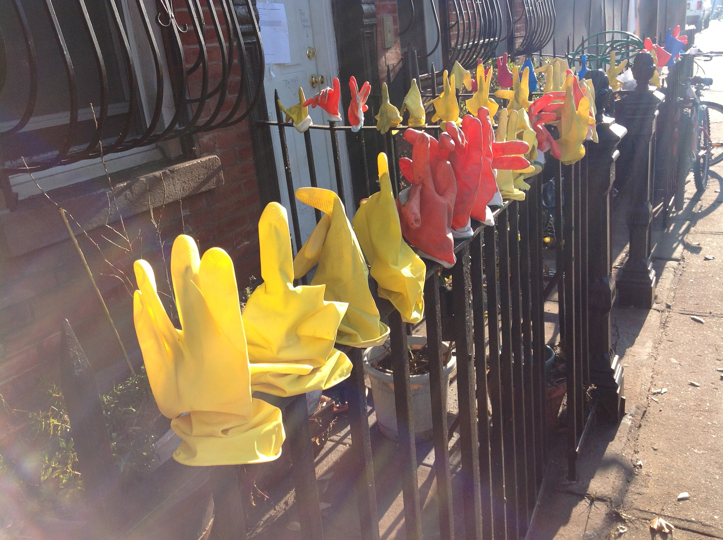One building grew their collection of work gloves out front