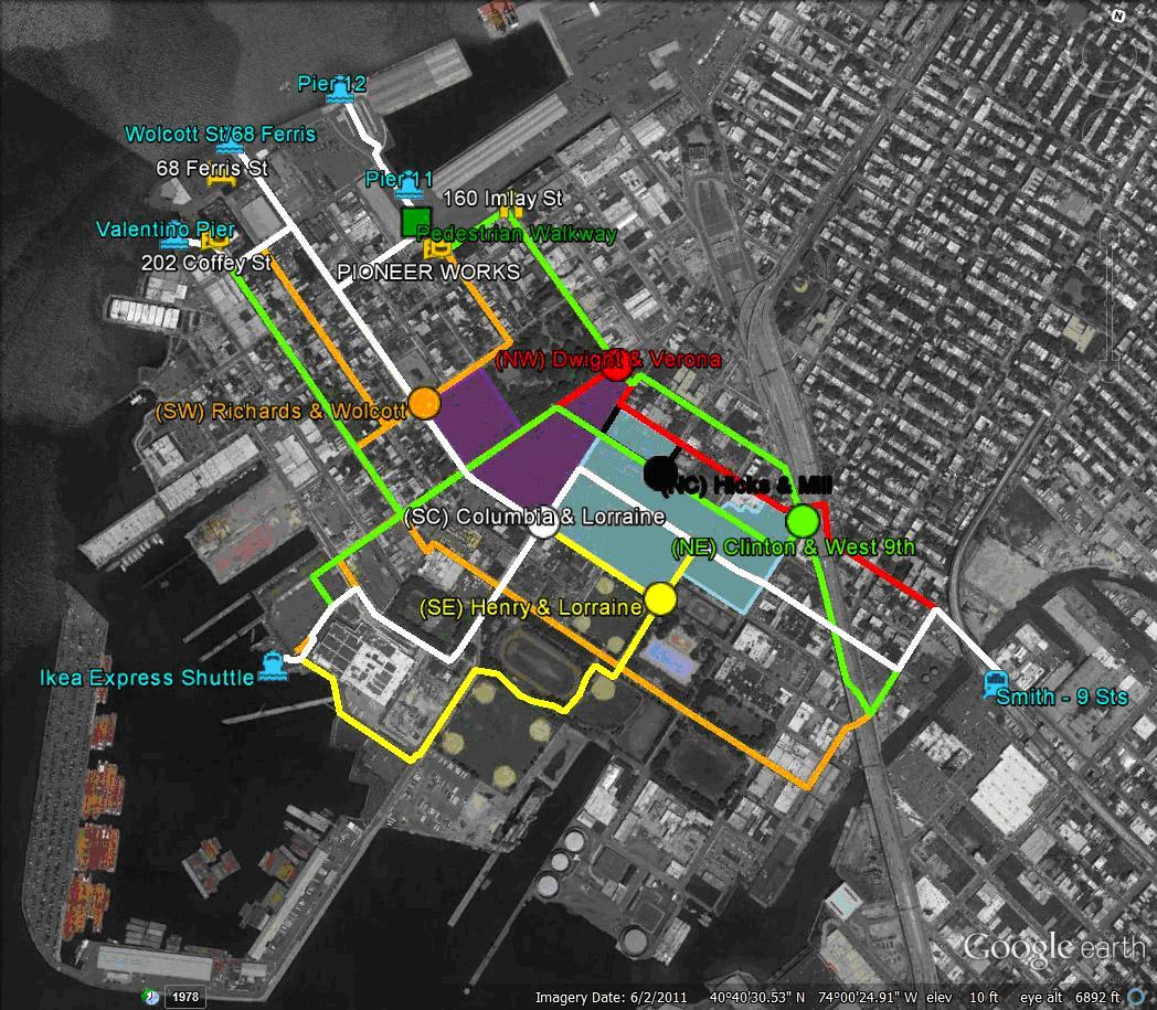 Red Hook ferry walk times map.jpg