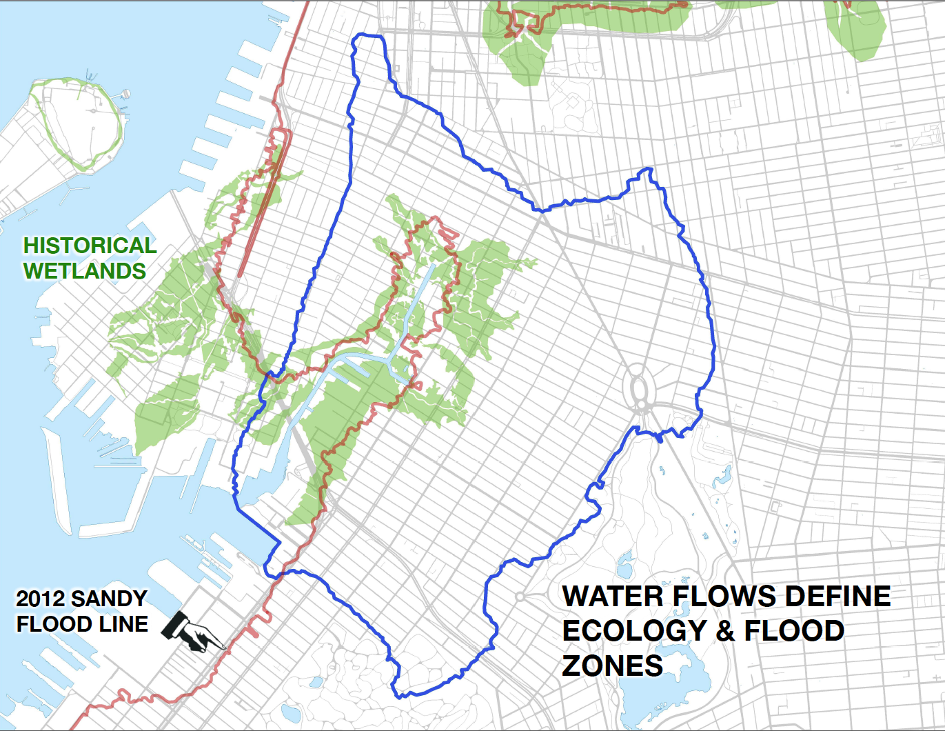 Sandy Flood Line compared with Historic Marsh Area for the Gowanus.png
