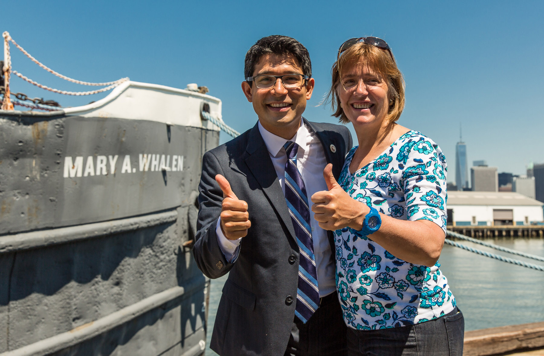 Councilman carlos menchaca and portside president carolina salguero soon after docking.
