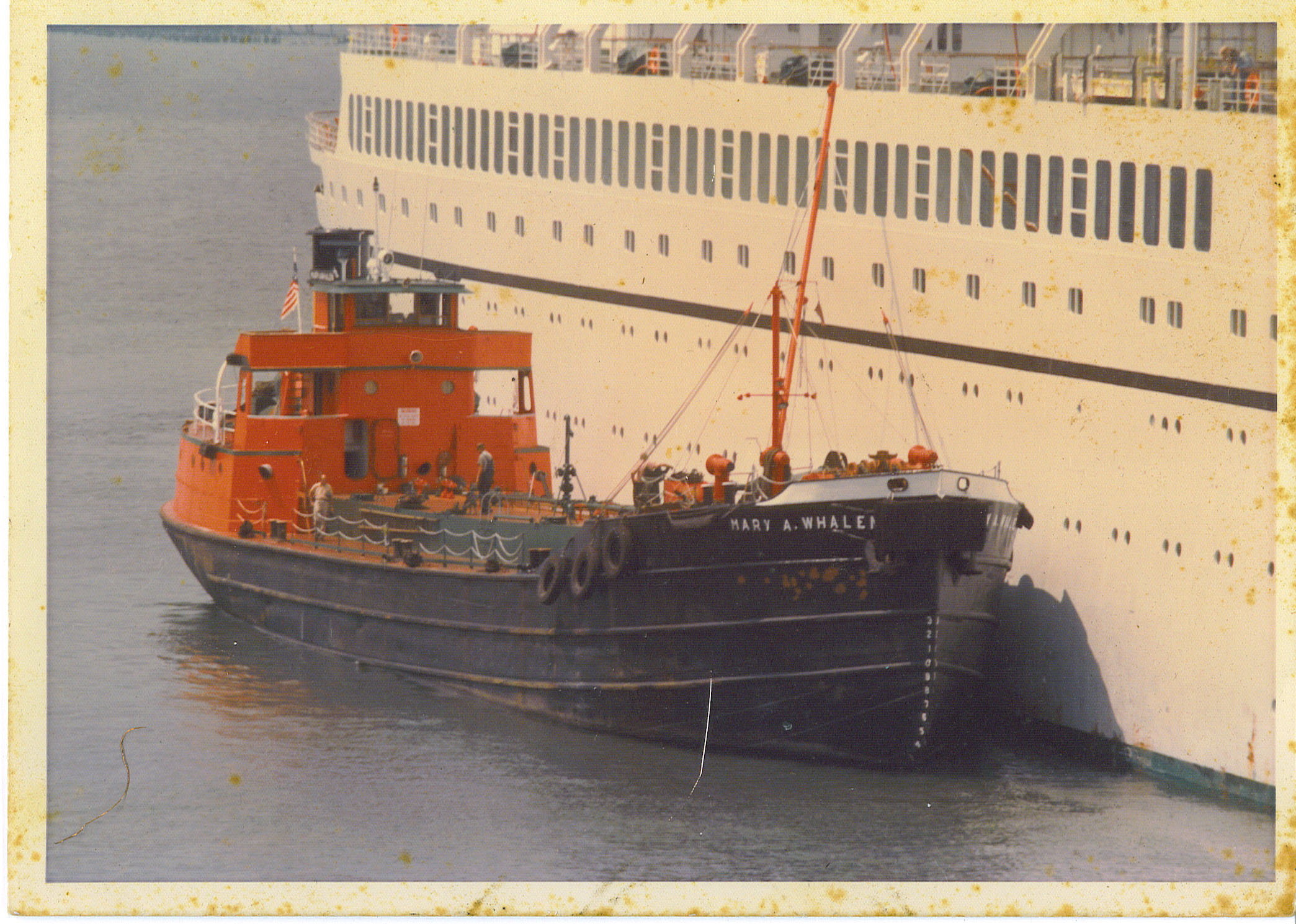 Tanker MARY A. WHALEN fueling a cruise ship back in the day. Photo by Bill Henry
