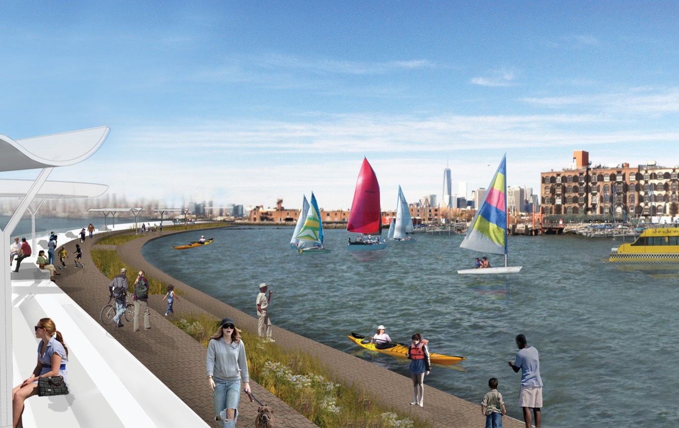 REBUILD BY DESIGN PLAN BY HR&A COOPERS ROBERTSON PUTS PARK SPACE ON TOP OF THEIR PROPOSED PROTECTIVE SEAWALL.