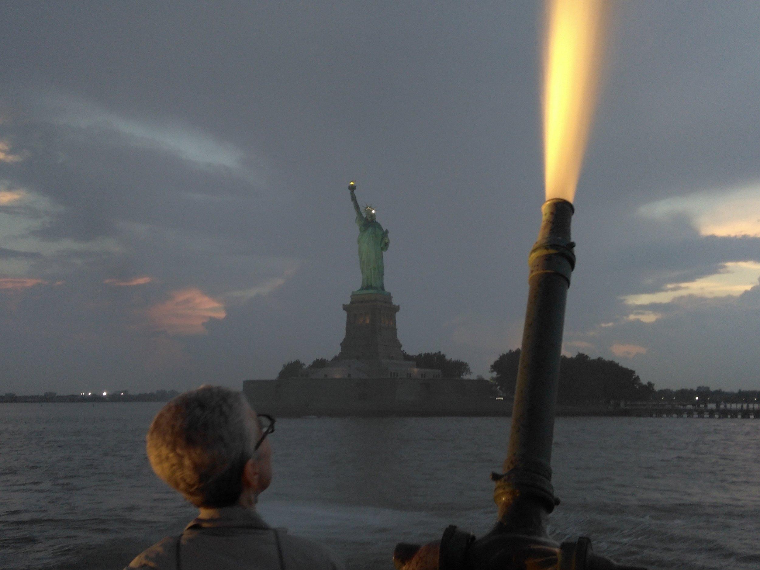 Fireboat firing water