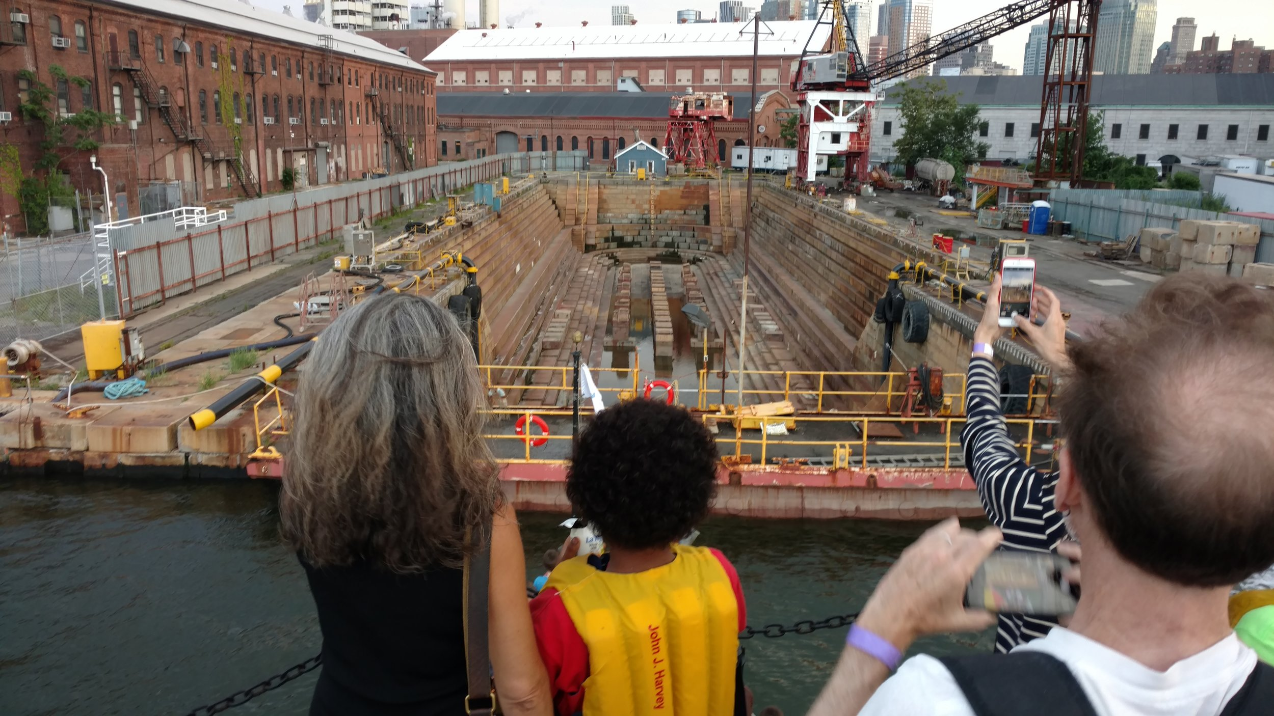 Looking into Dry Dock 1, where the MARY A. WHALEN was repaired in 2007, during harbor tour on fireboat JOHN J. HARVEY