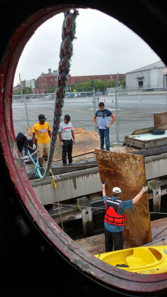 we cleaned the harbor of 20 some sheets of plywood. we hope to re-use them.