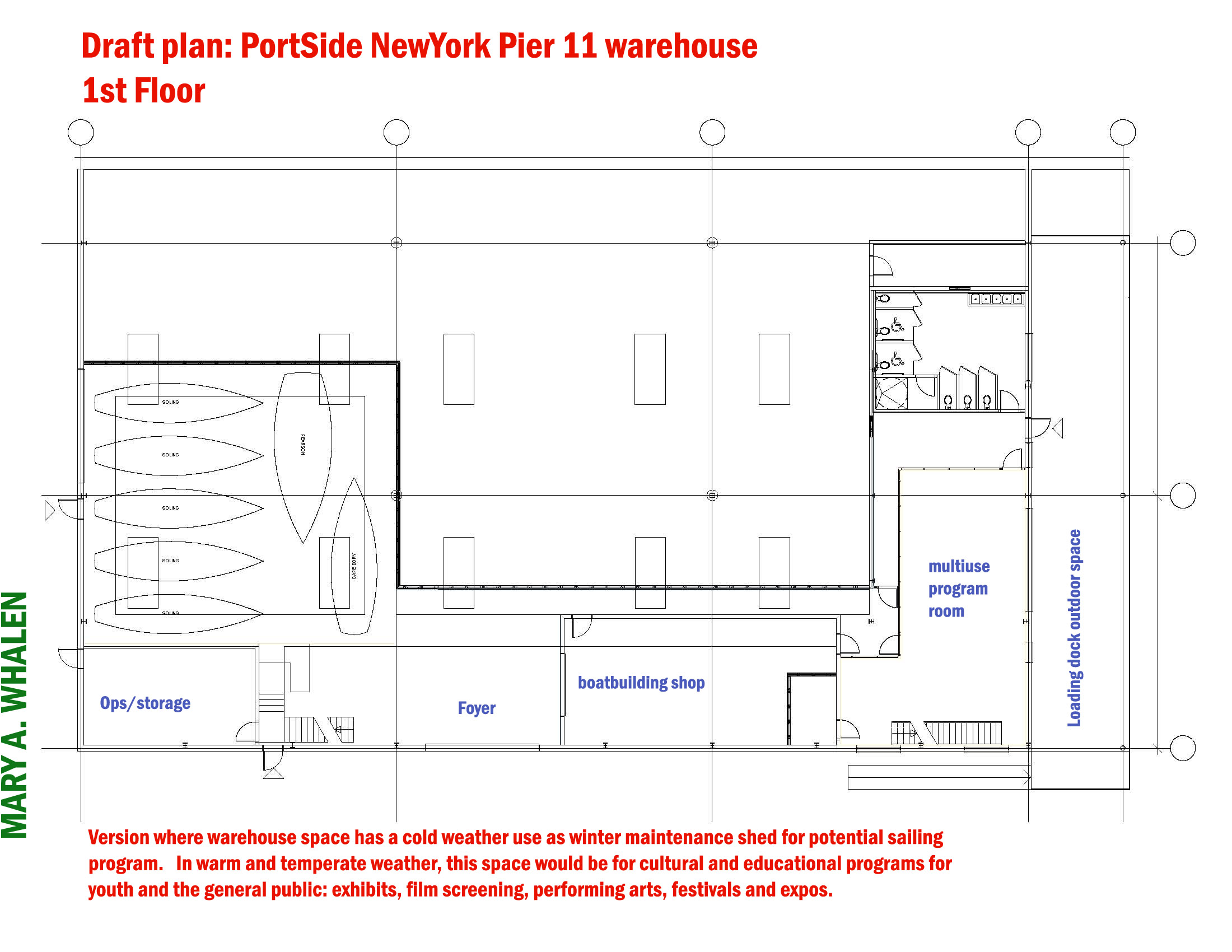 architectural plan by civic architecture workshop. ship maintenance layout by coastwise marine design