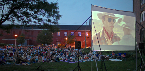 Lidgerwood as the backdrop to Red Hook Flicks movies that occur on Tuesdays throughout the summer
