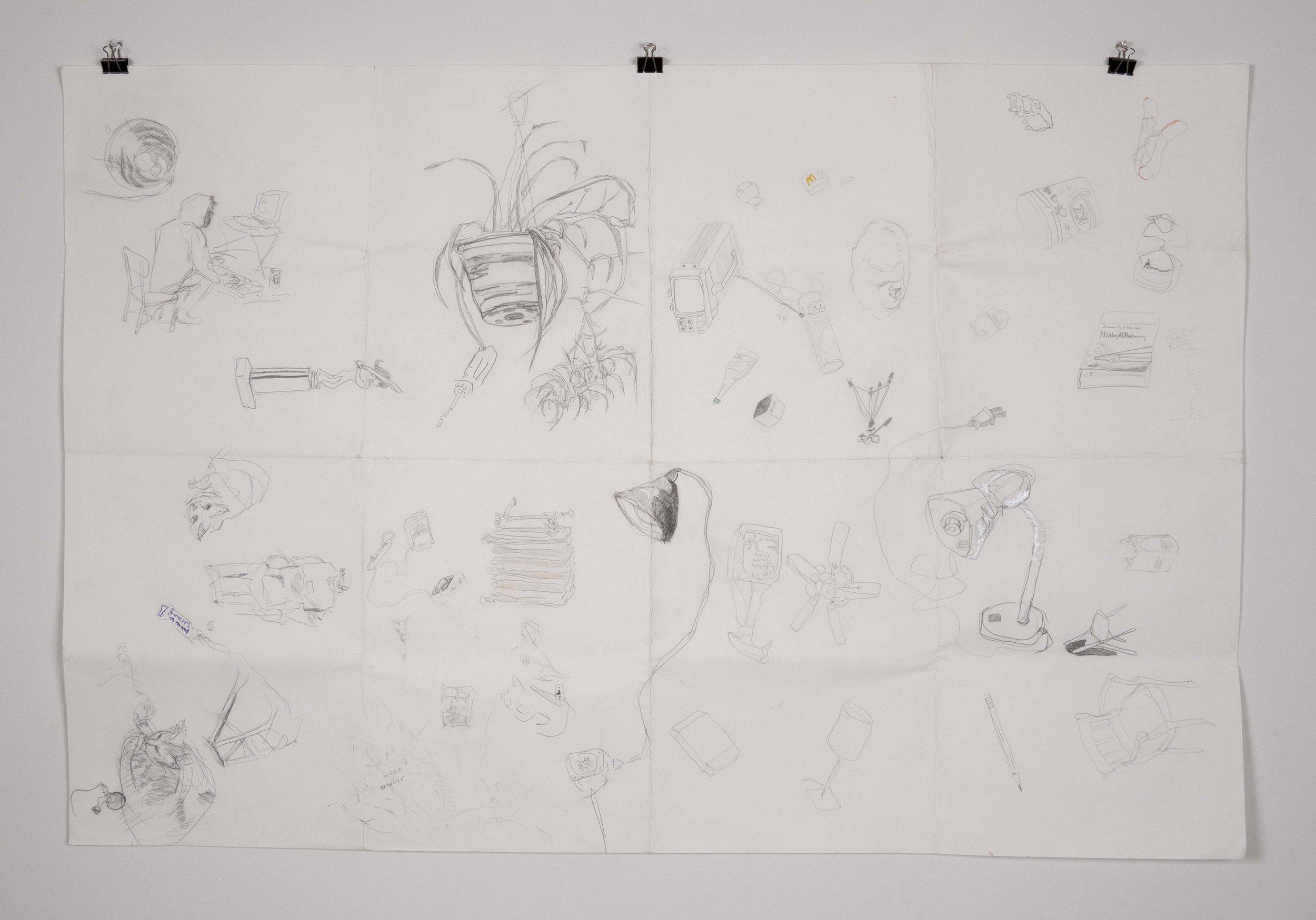 """Things seen while surviving multiple crises  - 40"""" x 60"""" - graphite and ink on blotter paper; conservation condition report and travel documentation, before and after conservation treatment documentation, final treatment report - 2018"""