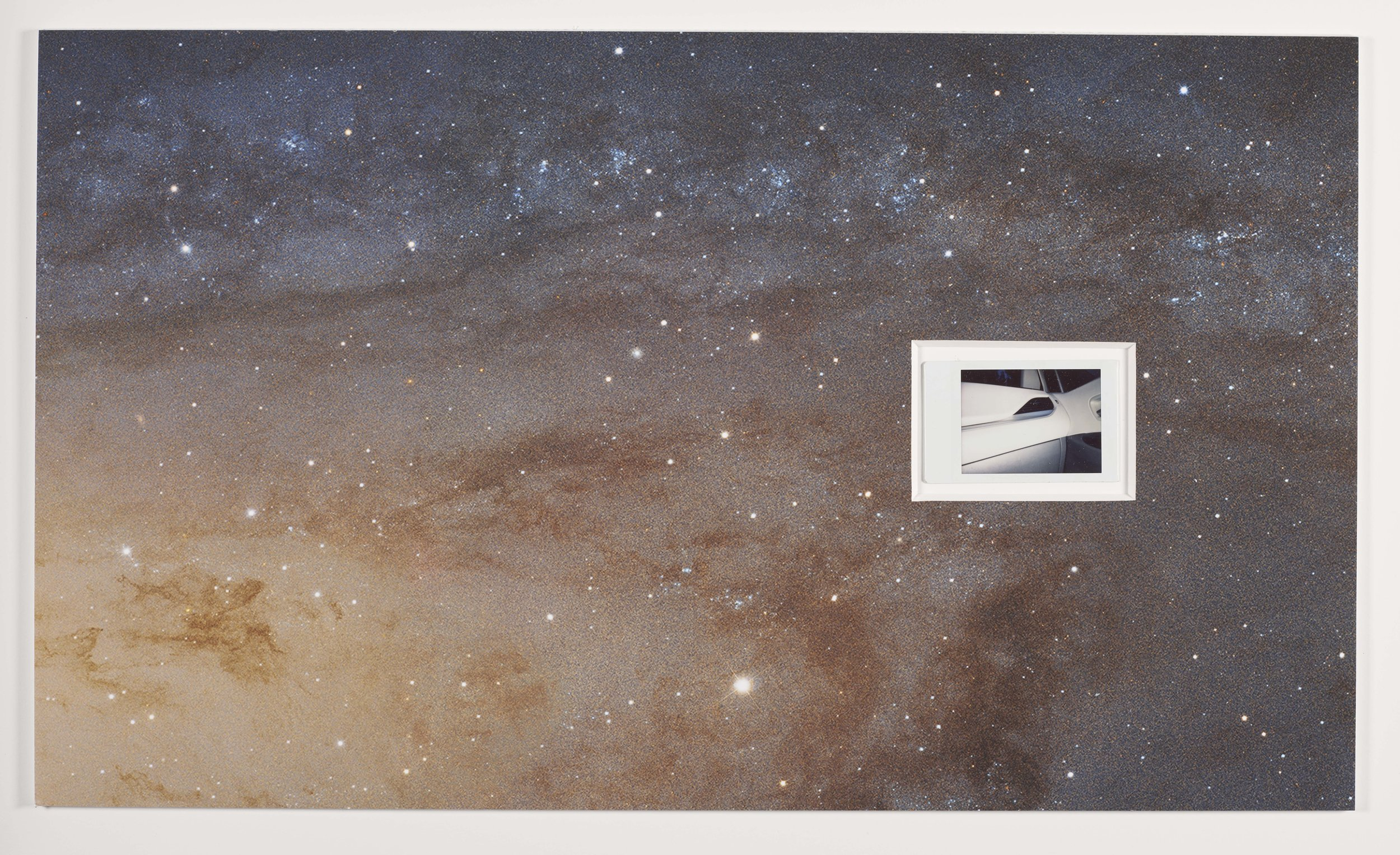 """all of it  (Andromeda and car interior) - 17"""" x 30"""" - Andromeda Galaxy photo (cropped) taken by the NASA/ESA Hubble Space Telescope on January 5th, 2015 containing 1.5 billion pixels in the full image, dry mounted to 8 ply mat board and found polaroid photograph - 2018"""