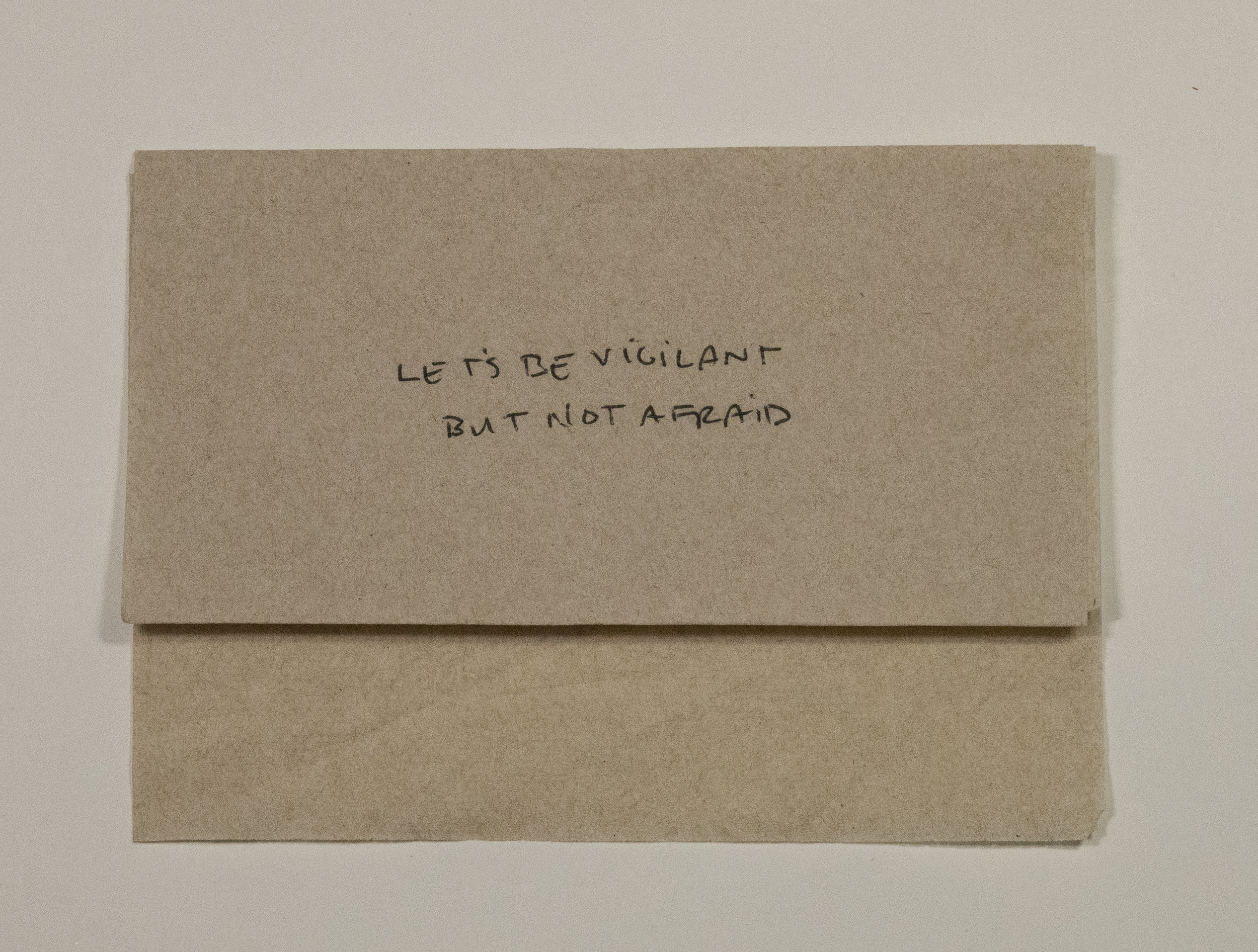 """Vigilant but not afraid  - 5"""" x 7"""" - Section of President Barack Obama's farewell address on January 15th, 2017 in ink on McDonald's napkin - 2017"""