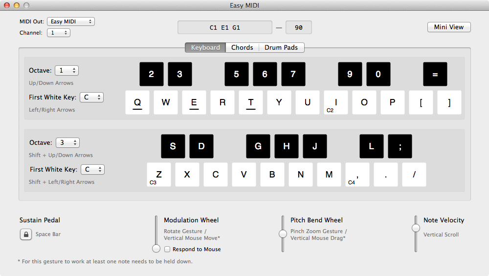 Easy MIDI Keyboard Tab