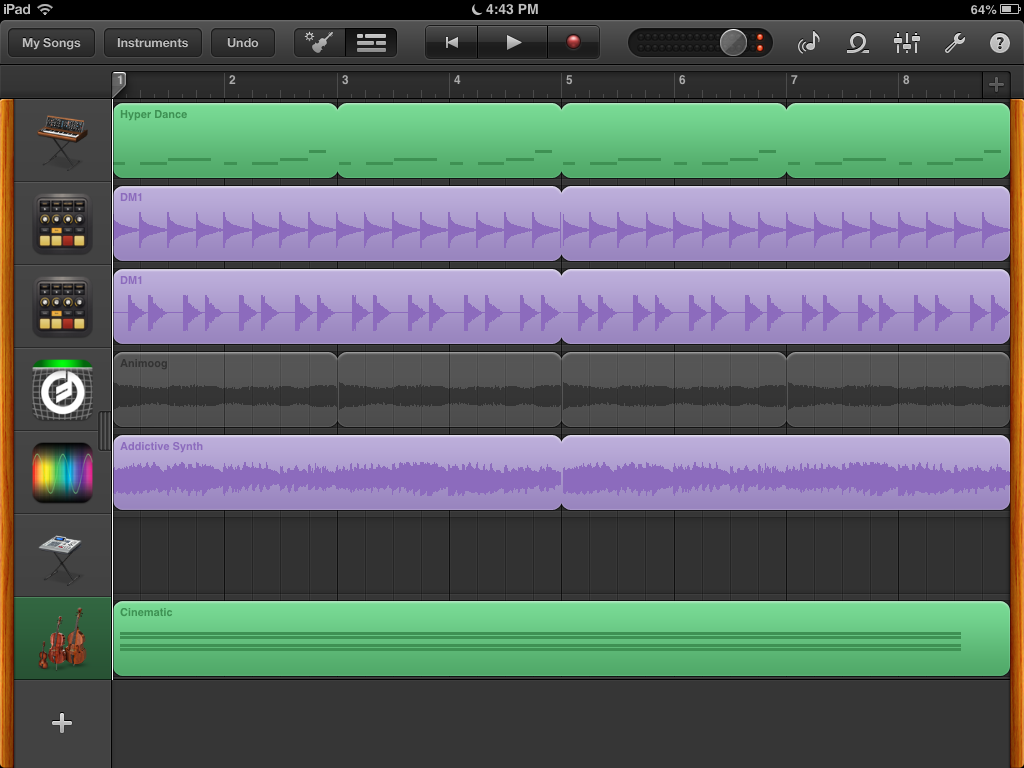 I like how GarageBand shows the app icons to indicate the source of the sample.