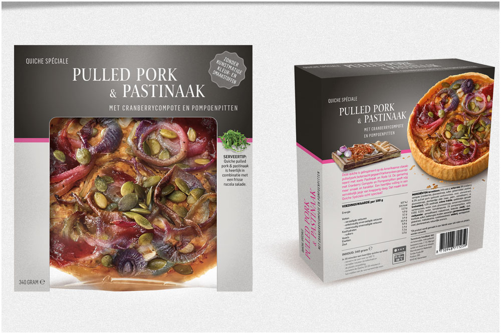 Quiche Speciale Concept en packaging quiche concept voor Albert Heijn