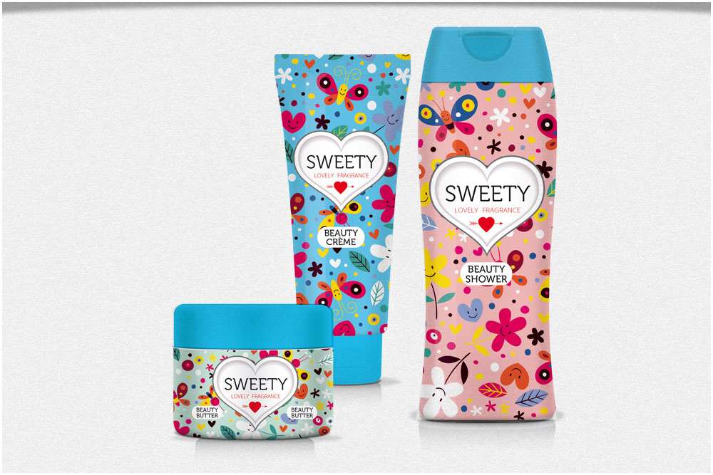 Packaging en designconcept Sweety Nourishing products