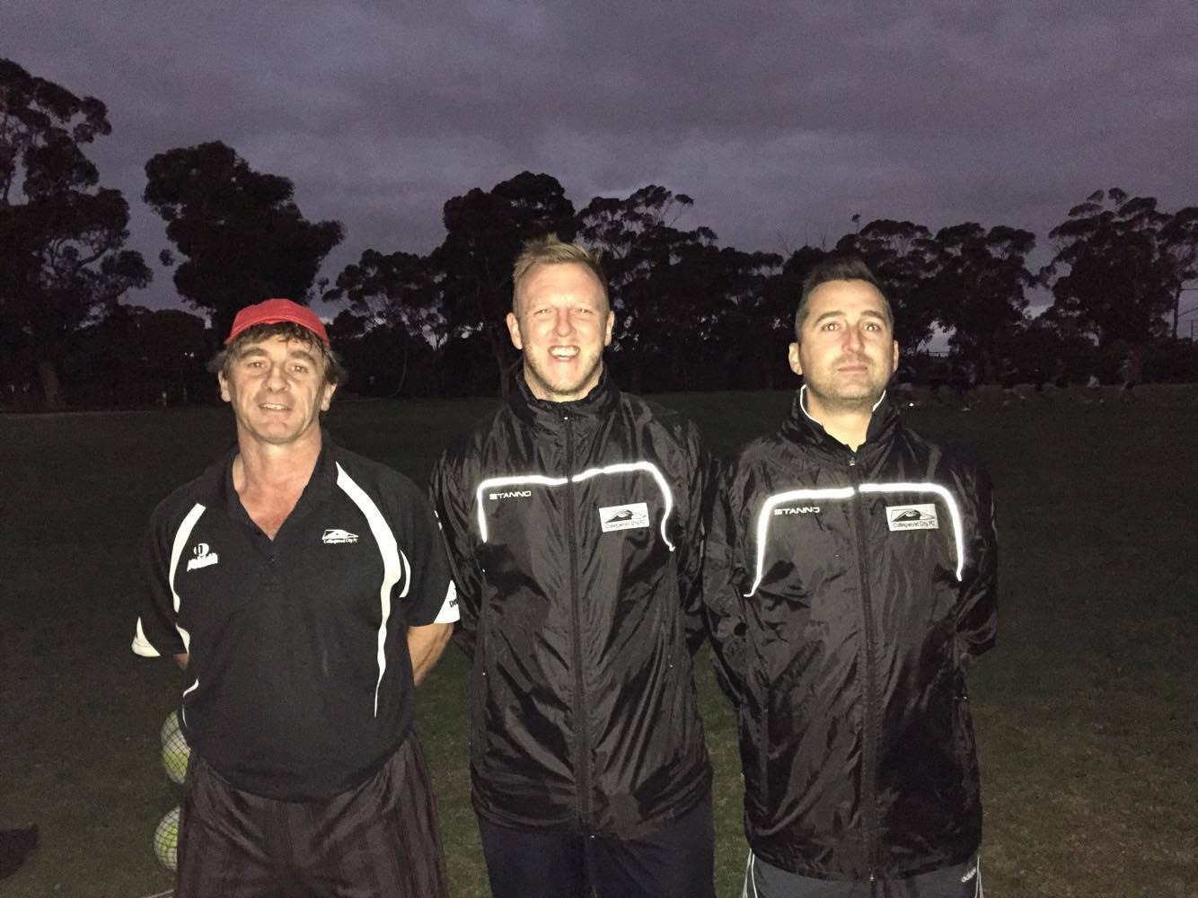 L-R: Goalie Coach Rich Garnett, Senior Team Coach Richard Bates, and Reserve Team Coach Ross Evans