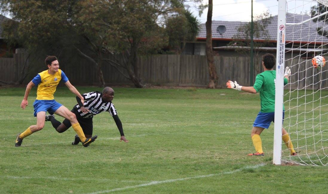 Diving header by Nigel Madzi putting us in front.