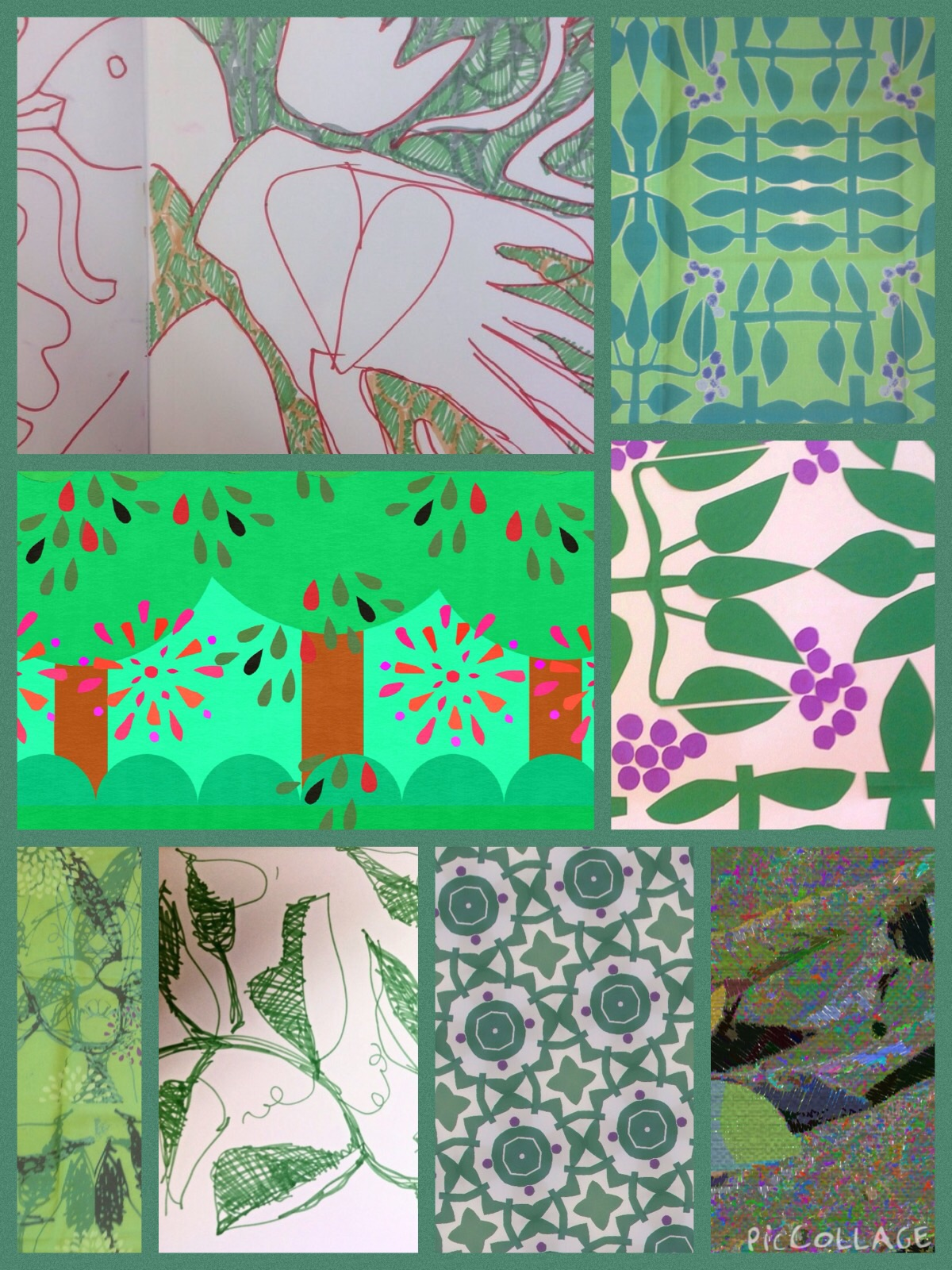 Collage of fabric designed with the iPad-- what I'm teaching today.