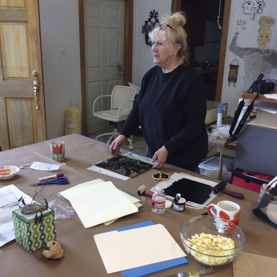 Junanne Peck brought in wood carving tools, and an encaustic hot plate for more fun!