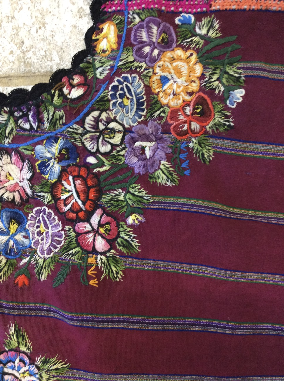 Embroidery on a huipil from Guatemala.