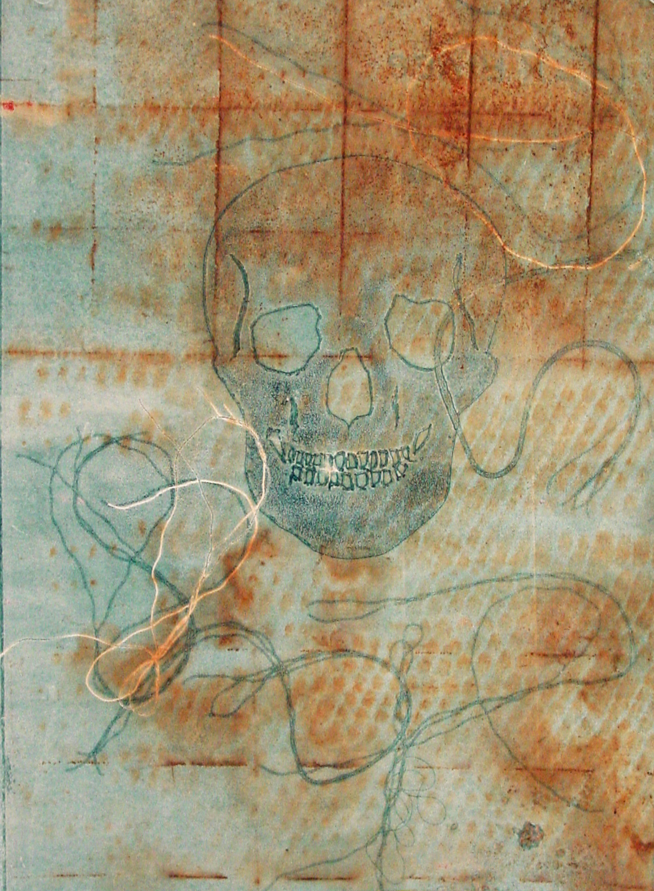 Junanne Peck, Scull with Rust monotype