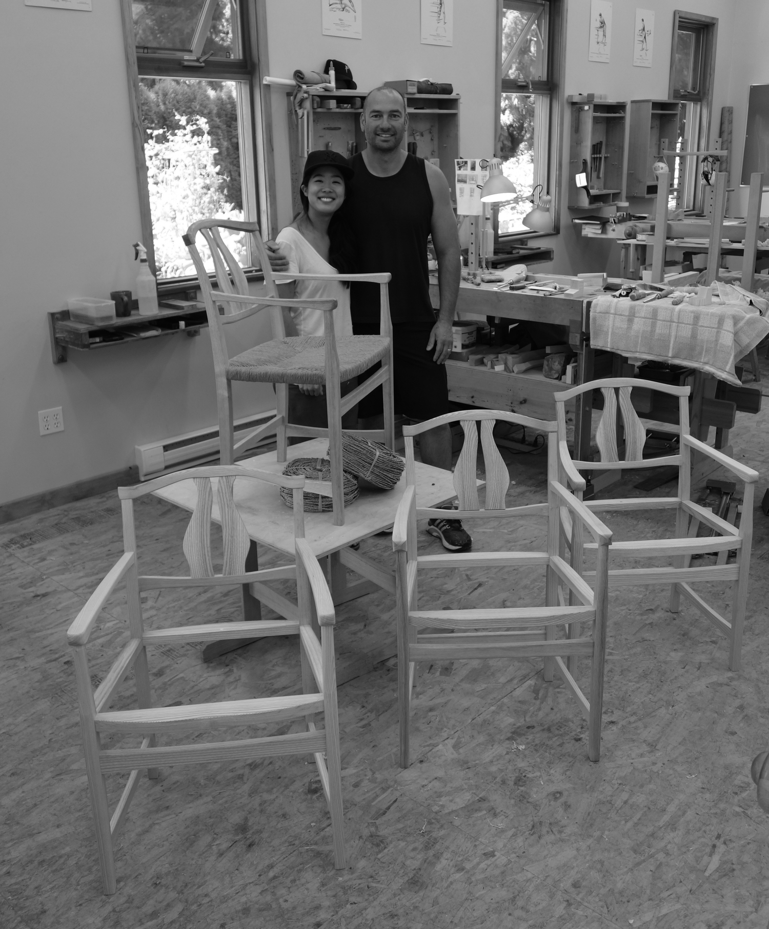 Nondas and I with our chairs nearing completion