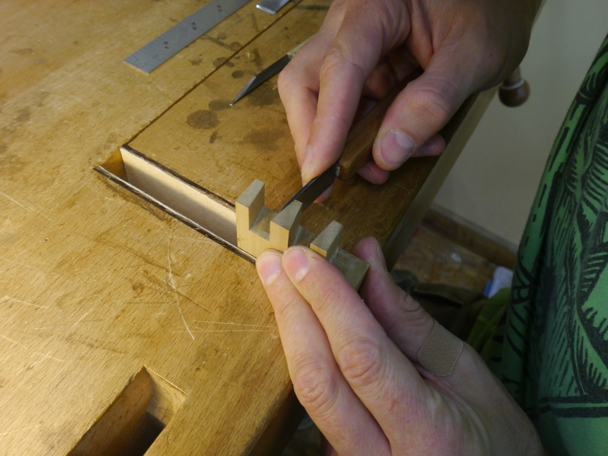 Jake uses his paring chisel and single bevel knife