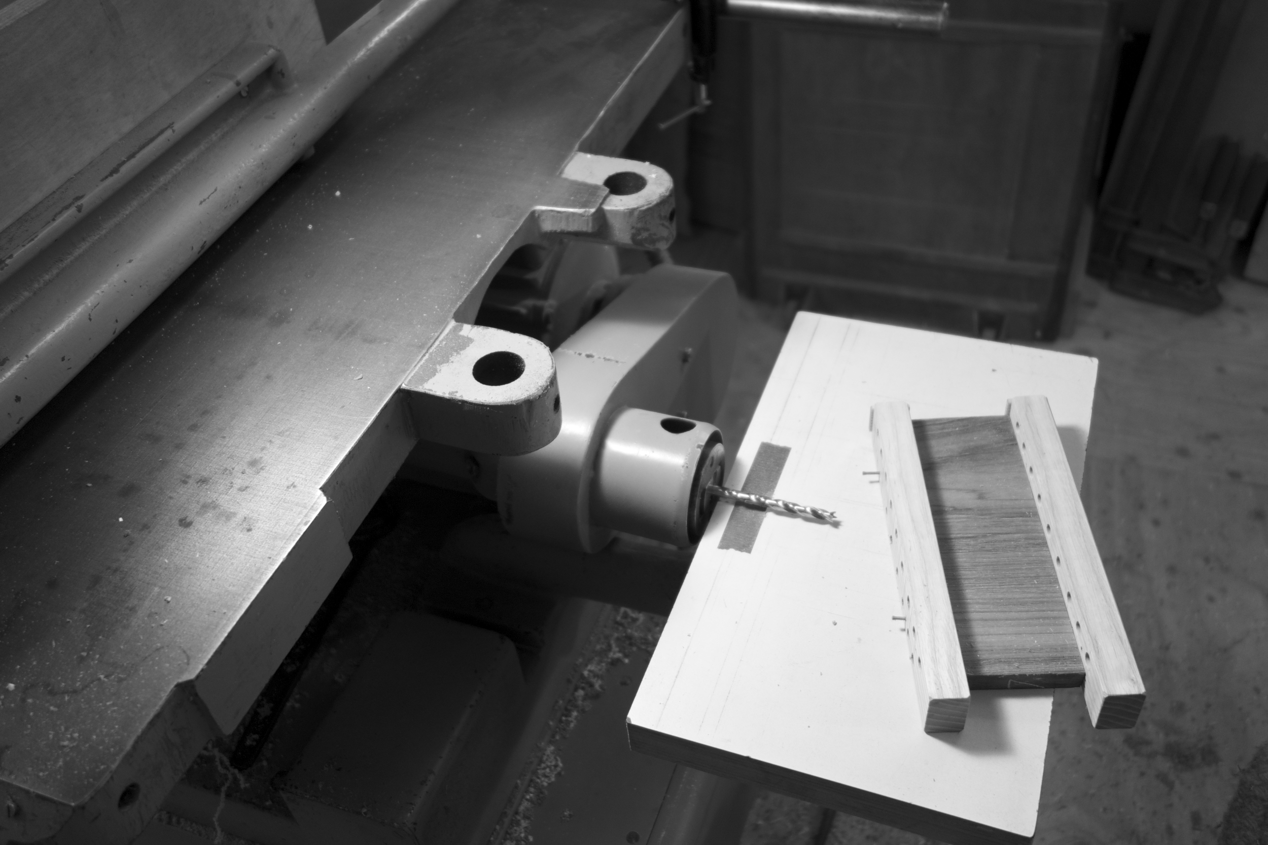 drilling on Jim's fine Stenbergs table saw and mortiser