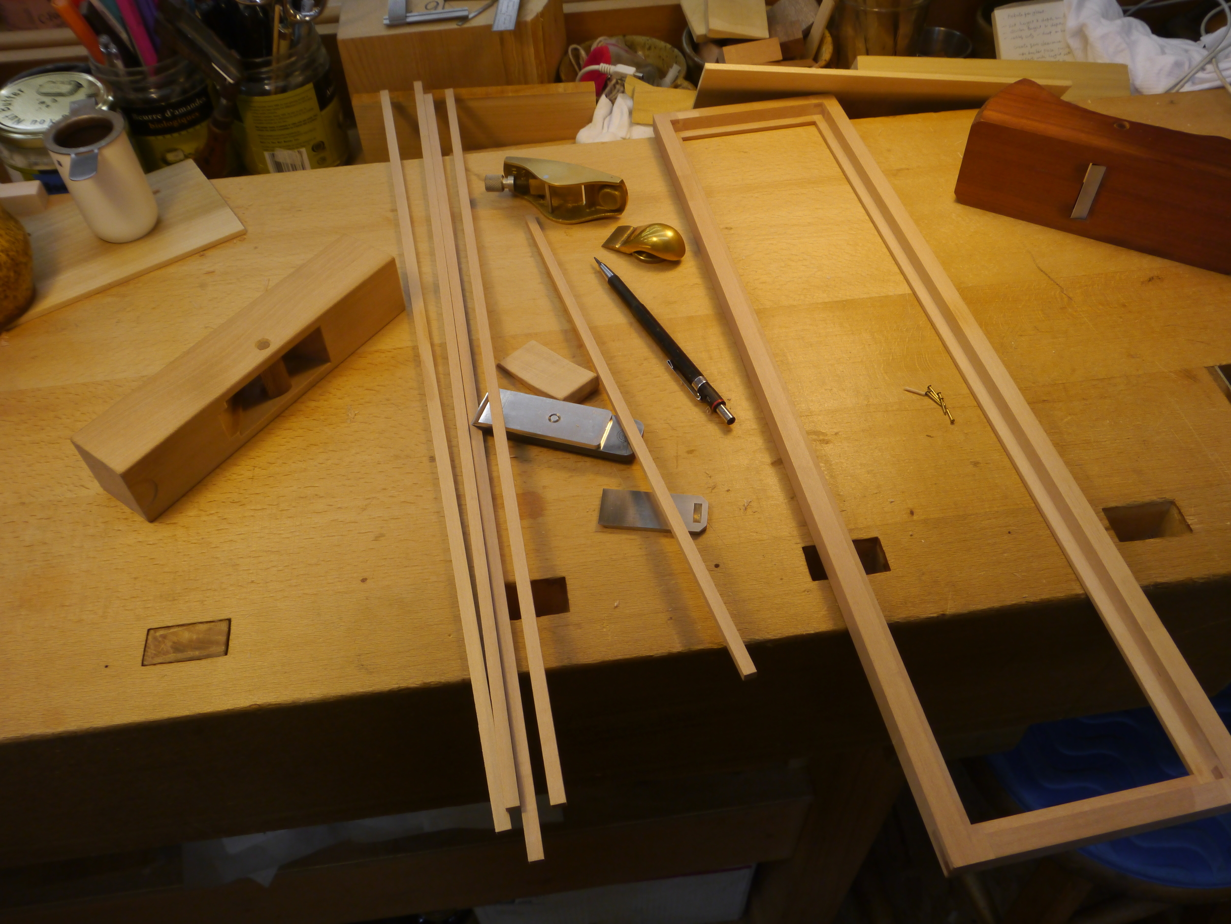 Rabbet run, frame assembled, ready for strips and pins