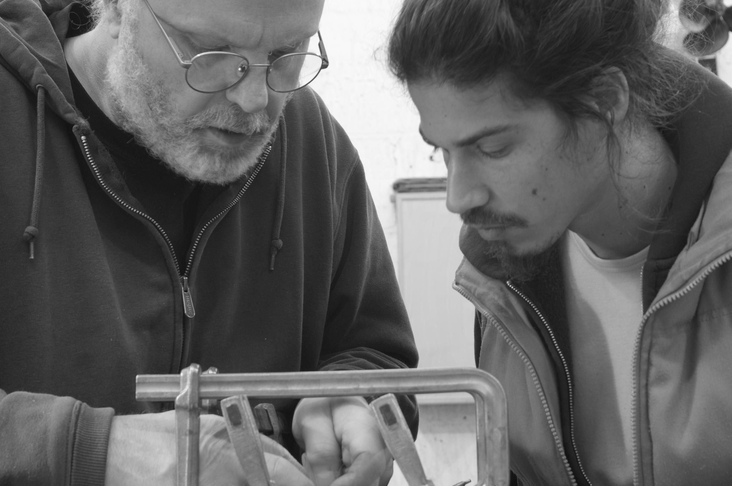Robert & Oren assembling Robert'sdrawer