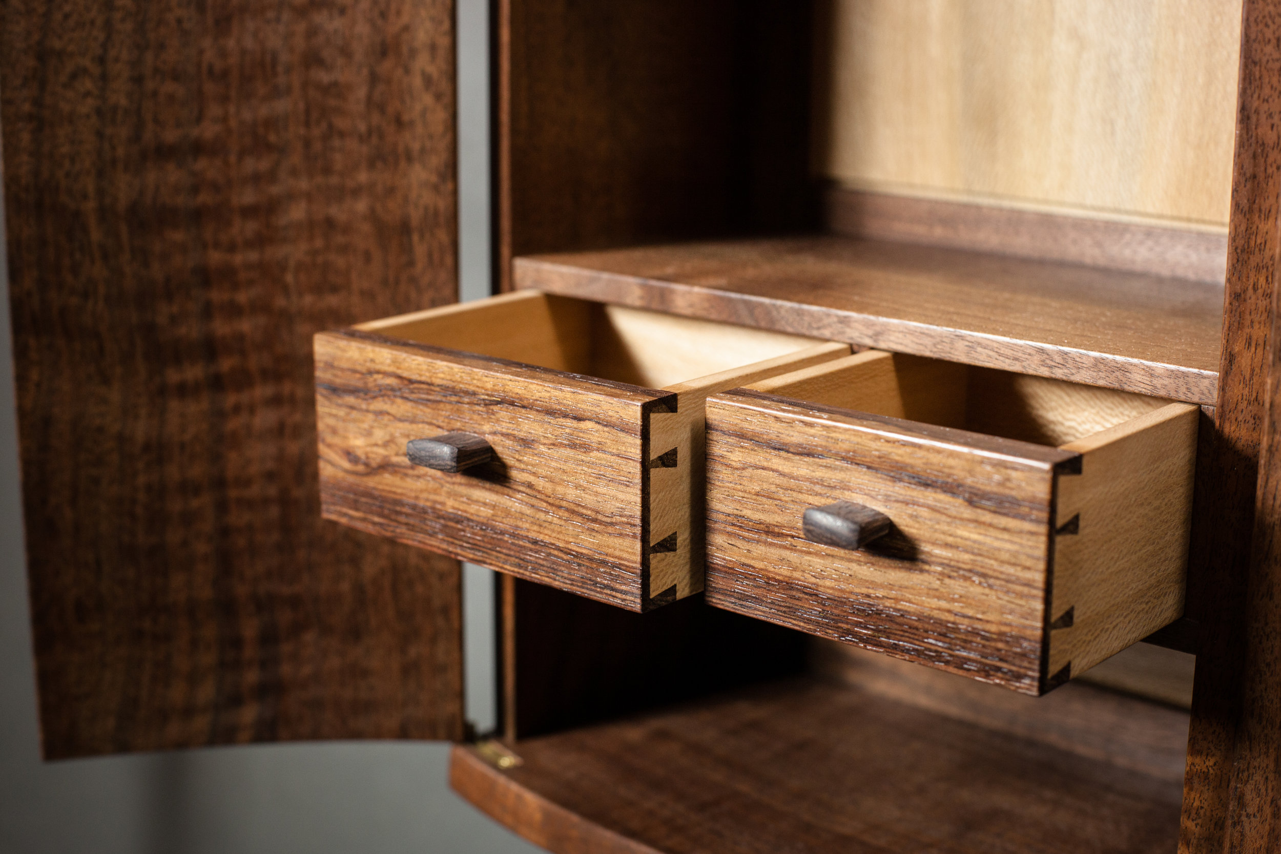 Drawer detail of Upward Spiral Cabinet by  Tim Andries   Photography by Tim Andries