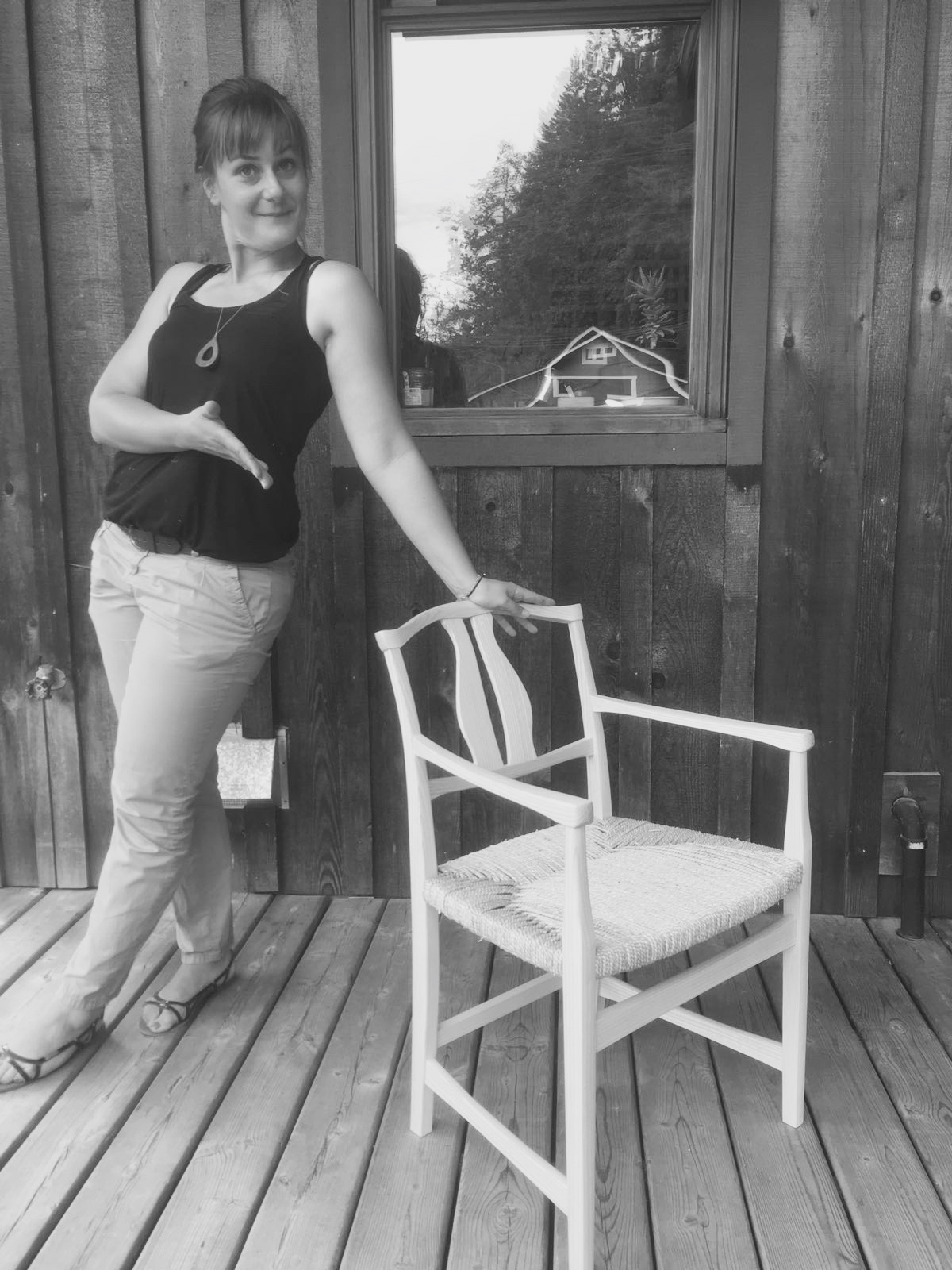 Marion and her completed chair
