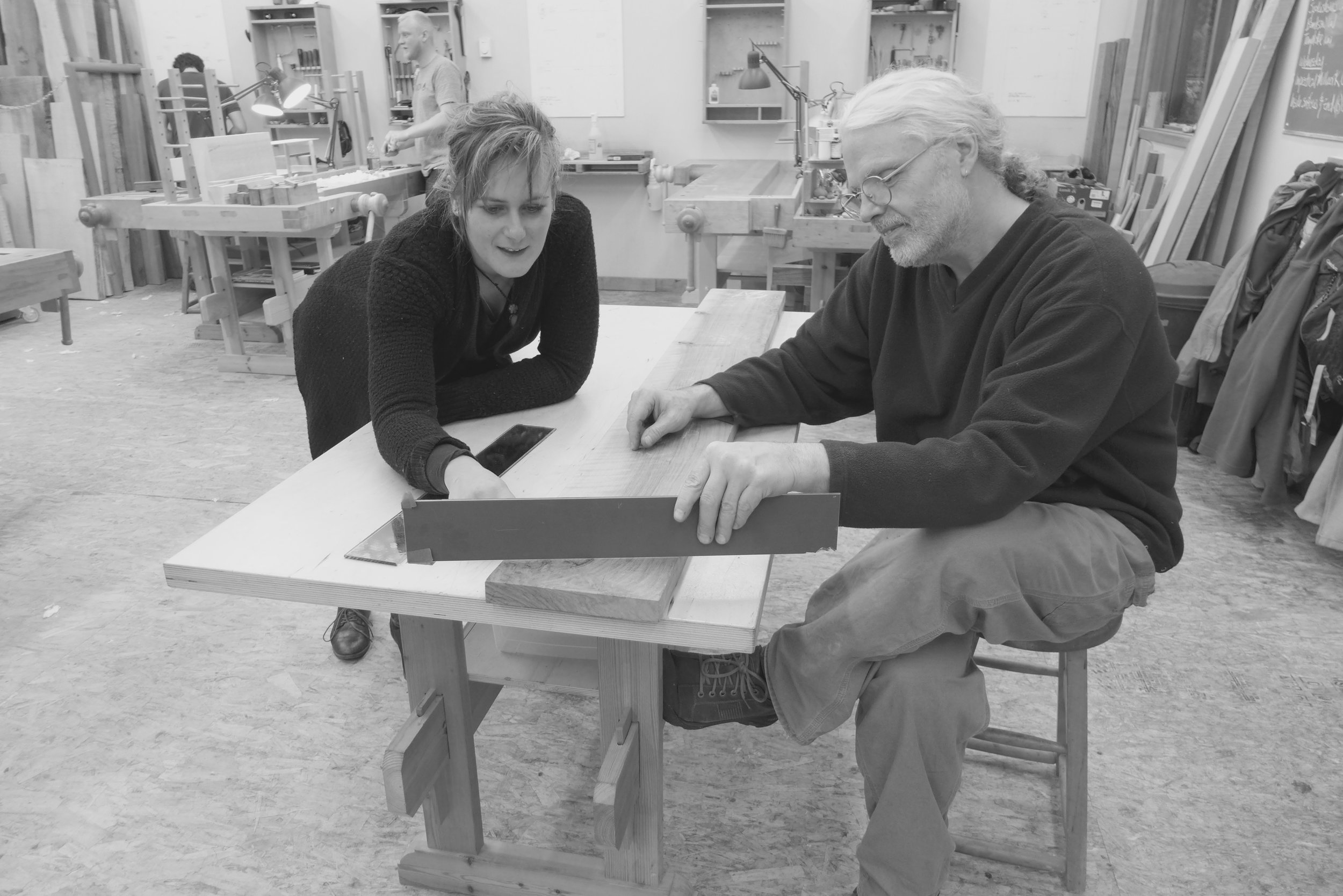 Marion and Robert selecting wood for her lap desk
