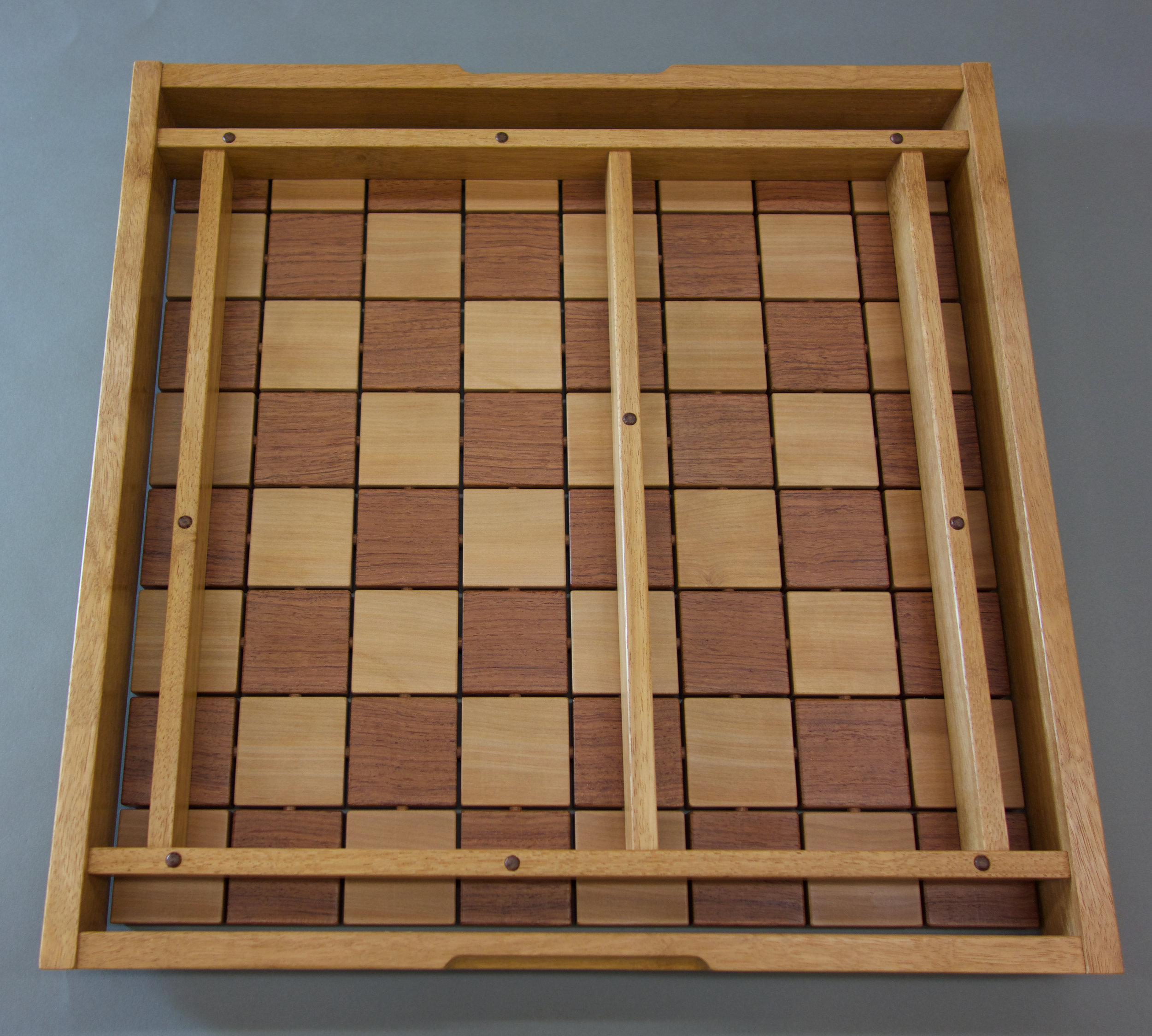 underside of Upward Spiral Chessboard by Sam Gapic